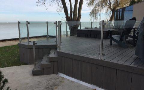 Waterfront glass deck railing