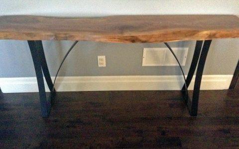 Custom flat-bar legs for a live edge bench