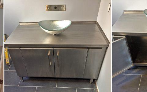 Orbital sanded stainless steel bathroom vanity